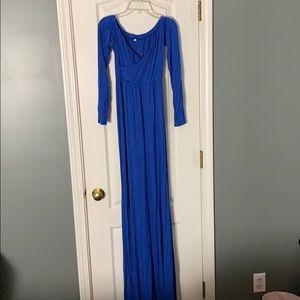 Blue off the shoulder Maternity Dress